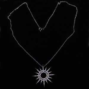 Sterling Silver Sun Pendant Stamped 925 With Chain